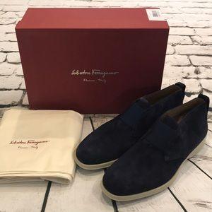 NWT Salvatore Ferragamo Gart Suede Boots Shoes NEW